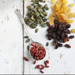 Raisins, golden raisins, pumpkin seeds, sunflower seeds and goji berries .jpgRaisins, golden raisins, pumpkin seeds, sunflower seeds and goji berries