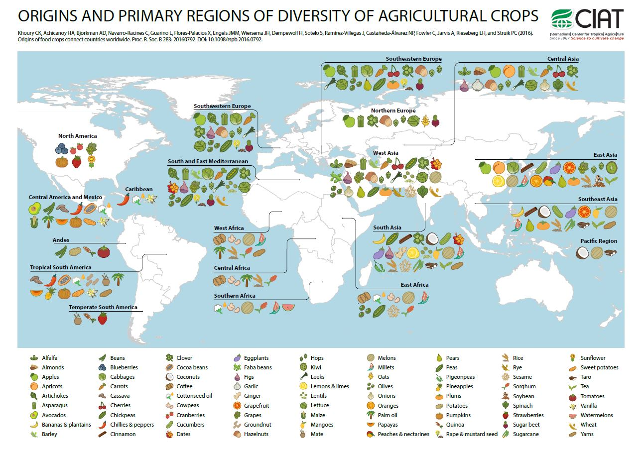 The Geographic origins of food crops